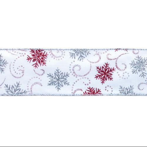 """6 White Red & Silver Glittered Snowflake Christmas Ribbon 2.5"""" x 60 Yards"""