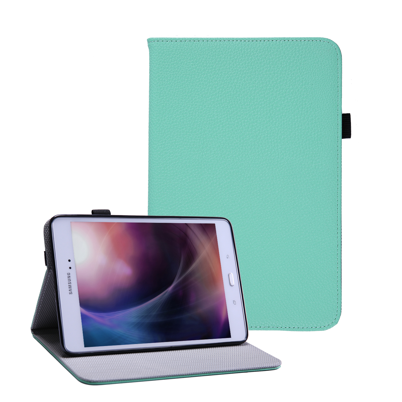 HDE Galaxy Tab A 8.0 Leather Case - Vintage Folio Cover Case Multi-Angle Viewing Stand for Samsung Galaxy Tab A 8.0 Tablet (Seafoam Green)