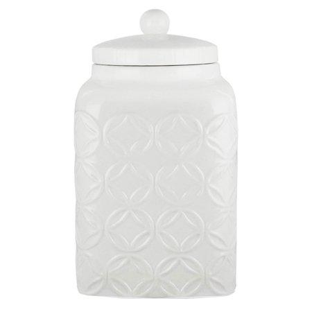 American Atelier White Embossed Ceramic Cookie Jar with Lid - Atelier Creatif Halloween