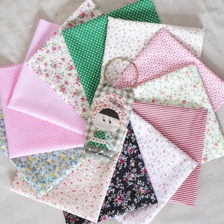 16Pcs Fashionable Cotton Fabric Bundles Fat Eighths Florals Gingham Spots Craft Patchwork Arts & Crafts Polycotton Material ()