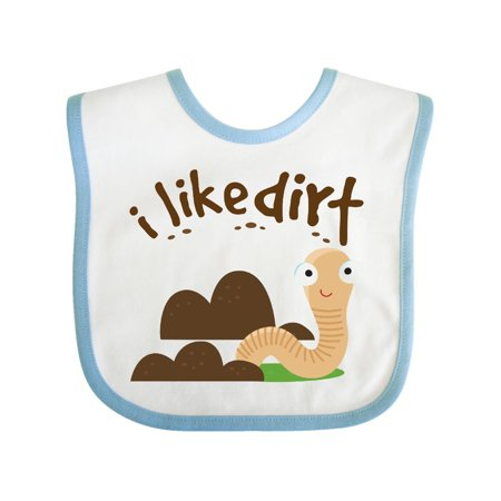 I Like Dirt Earthworm Baby Bib White/Blue One Size (Baby Earthworms)