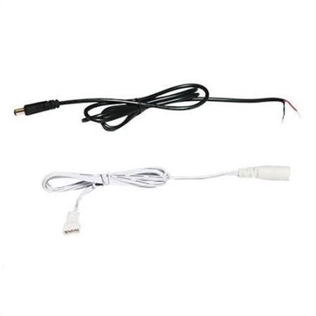 24 in. Power Feed, IP65 Female Connector to Bare Wires, White