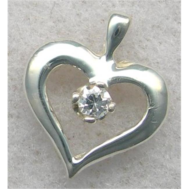 Marinas Fine Jewelry 10kt White Gold Genuine Diamond Heart Solitaire Pendant