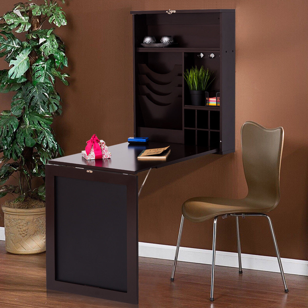 Costway Wall Mounted Table Convertible Desk Fold Out Space
