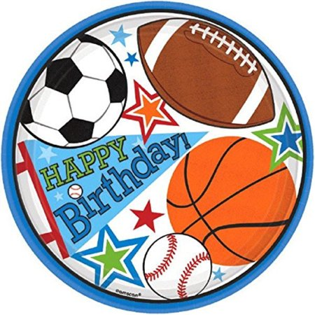 Amscan Plates | Birthday | Superstar Ball Sports Collection - Sports Birthday