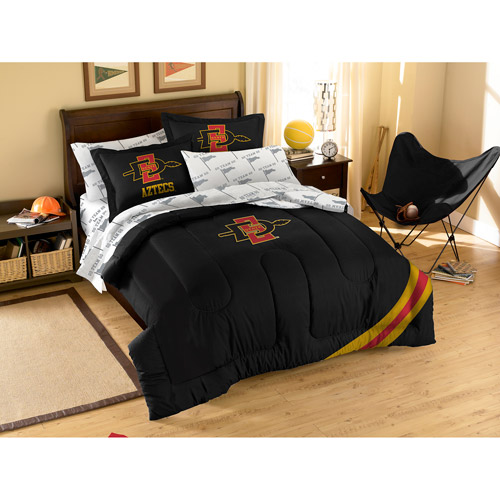NCAA Applique Bedding Comforter Set with Sheets, San Diego State
