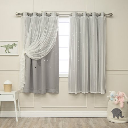 Best Home Fashion Mix and Match Star Punch Blackout and Tulle Grommet 4 Piece Curtain