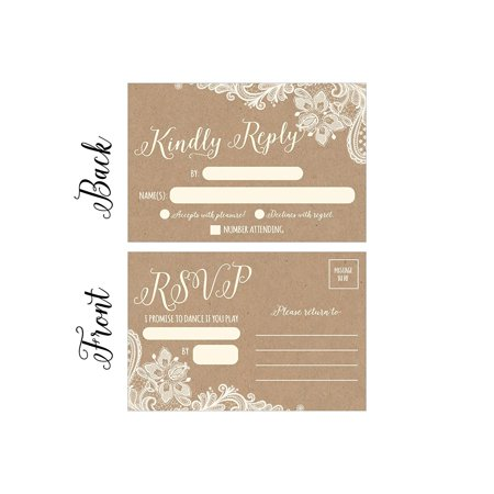 50 Rustic Rsvp Cards Rsvp Postcards No Envelopes Needed