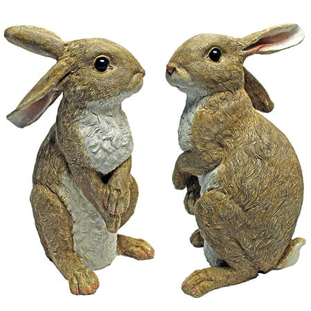 (Hopper, the Bunny, Standing Garden Rabbit Statue: Set of Two)