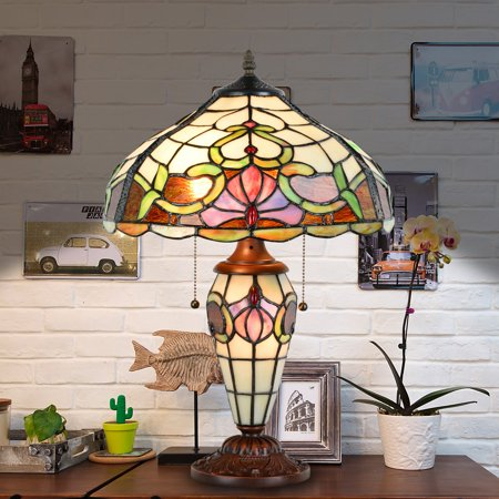 Cloud Mountain Victorian Floral and Vine Stained Glass Table Lamp