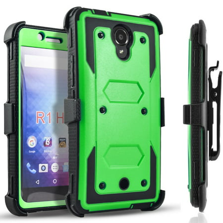 Galaxy J7 V Case, Galaxy J7 Perx Case, Galaxy J7 Sky Pro Case, [SUPER GUARD] Dual Layer Protection With [Built-in Screen Protector] Holster Locking Belt Clip+Circle(TM) Stylus Touch Screen Pen (Camo) Case Green Circle