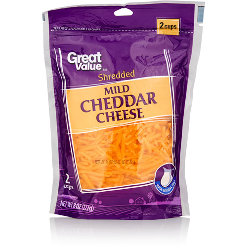 Great Value Mild Shredded Cheddar Cheese, 8 oz