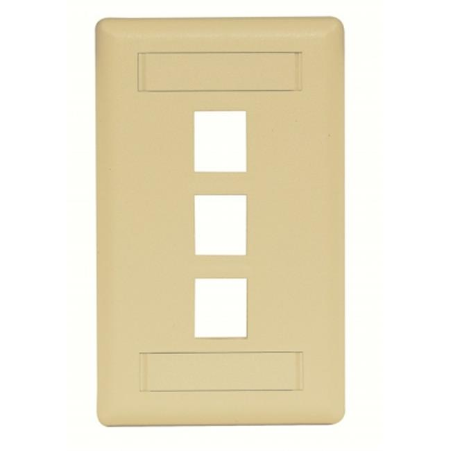 Hubbell IFP13EI 3 Port Rear Loading Single Gang Face Plate, Electric Ivory - image 1 of 1