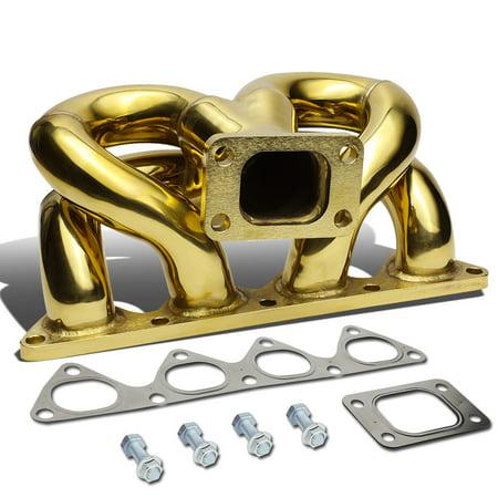 For 88-91 Honda Civic / CRX D15 D16 / 93-97 Del So Anodized Stainless Steel 42mm T3 Ram Horn Exhaust Turbo - Rap Horn