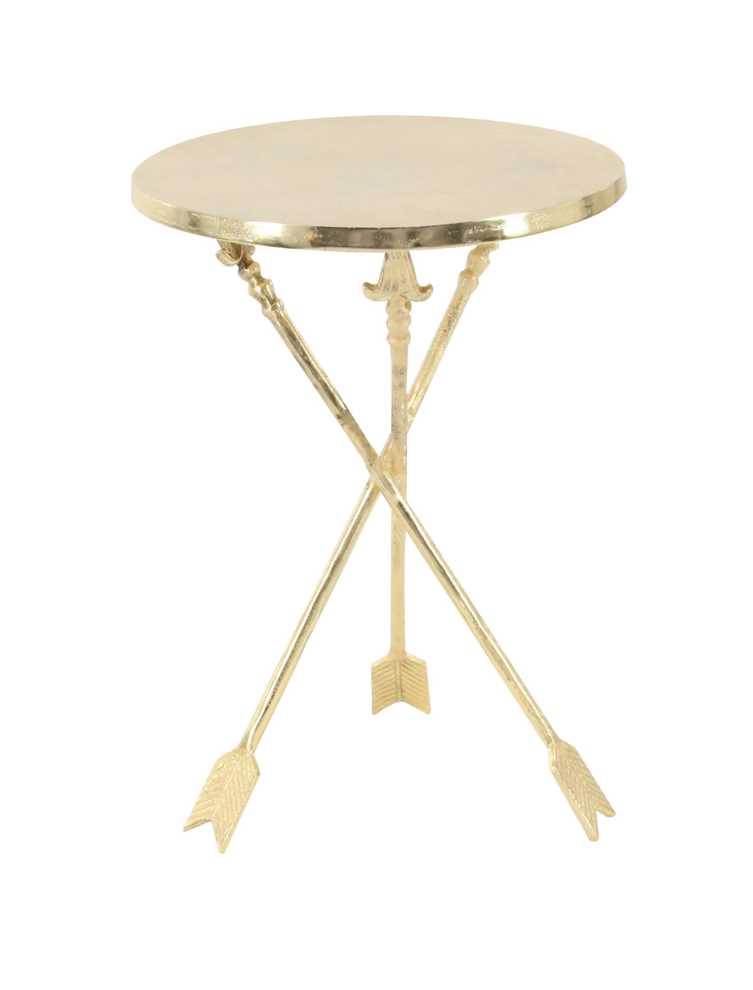 Decmode Contemporary 22 X 16 Inch Round Gold Aluminum Arrow-Legged Accent Table, Gold by DecMode