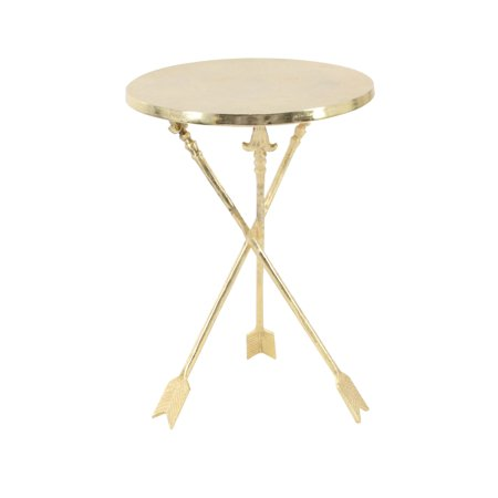 Decmode Contemporary 22 X 16 Inch Round Gold Aluminum Arrow Legged Accent Table