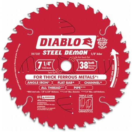 Diablo D0738F 7-1/2 38T Steel Demon Ferrous Metal Cutting Circular Blade (Stock Non Ferrous Metals Blades)