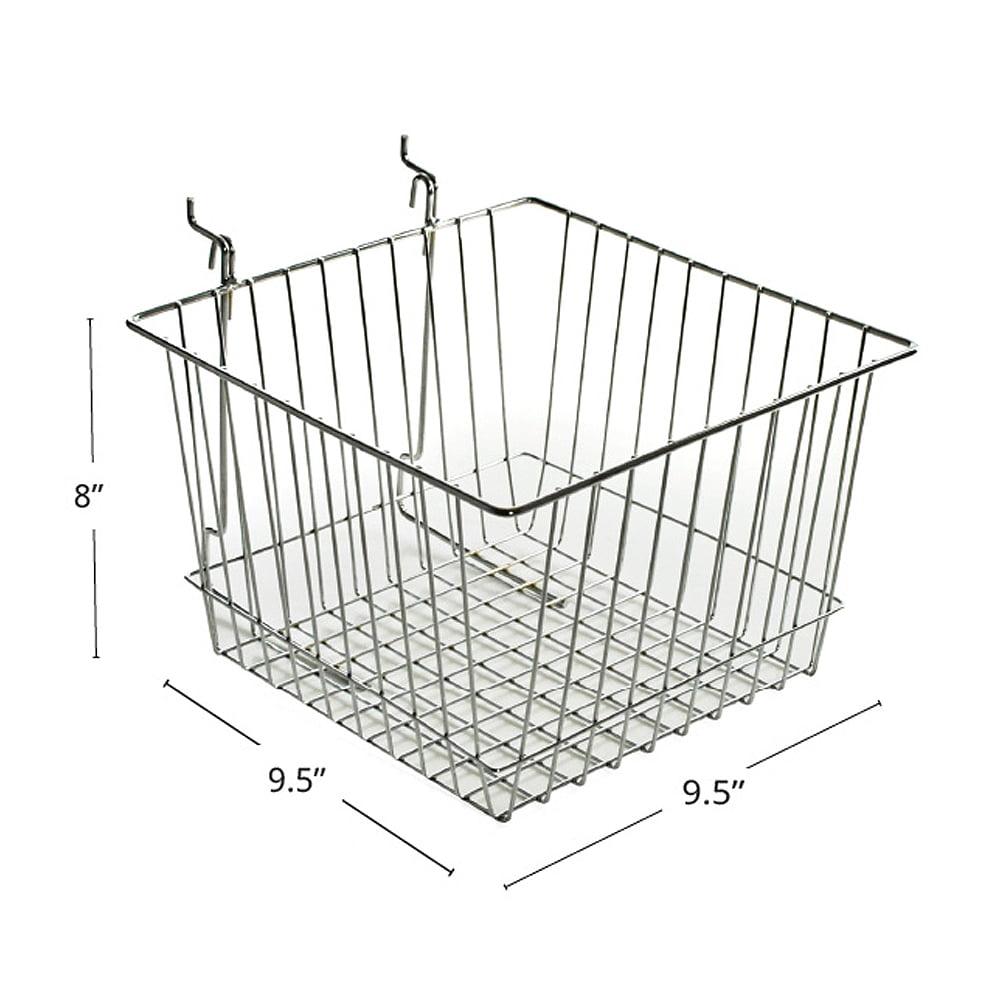 "Azar 300621 4.25""H Chrome Wire Basket, 2Pack"