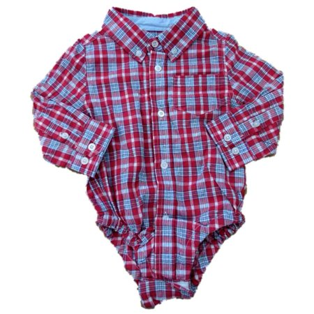 G-Cutee Infant Boys Red Plaid Button Up Creeper Bodysuit](Plaid Onesie)