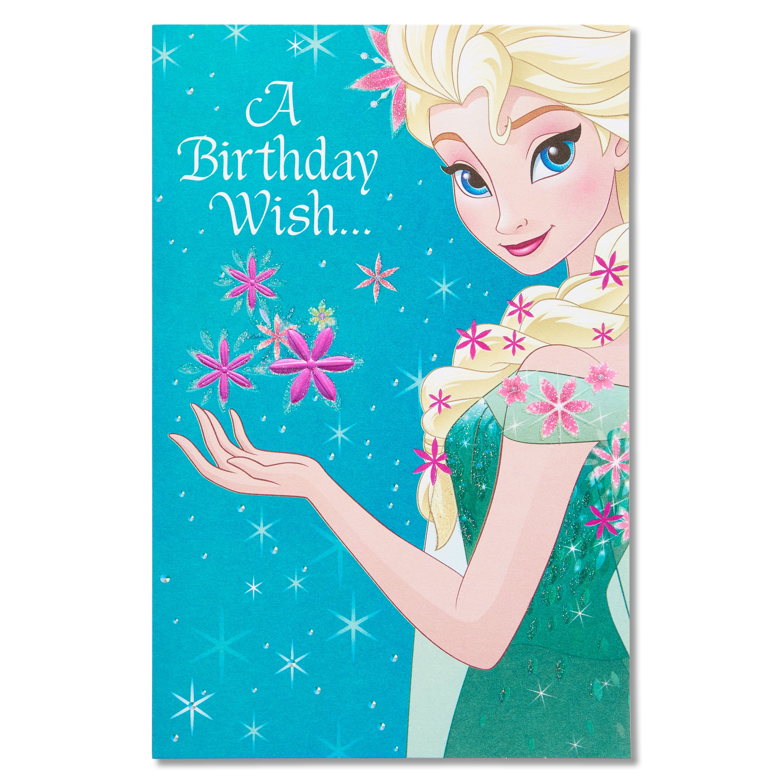 Frozen Birthday Card with Glitter Walmartcom