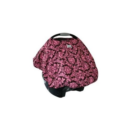 Sprout Shell SSDAN14 Dandy Damask - Brown With Hot Pink Damask Print And Side Pocket