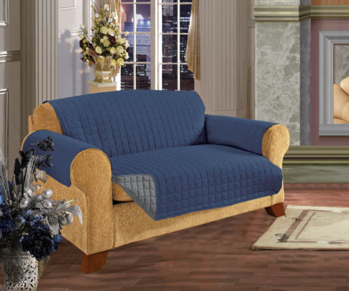 Reversible Quilted Furniture Protector Sofa Couch Pets Slip Cover Navy Blue  U0026 Gray