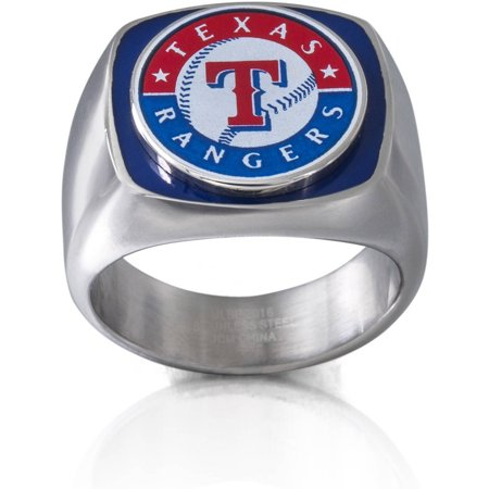 MLB License Stainless Steel Texas Rangers Logo Ring by