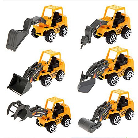 6 Pcs Children Kids Toy Vehicles 6 Mixed Engineering Vehicle Model Set Bulldozer -