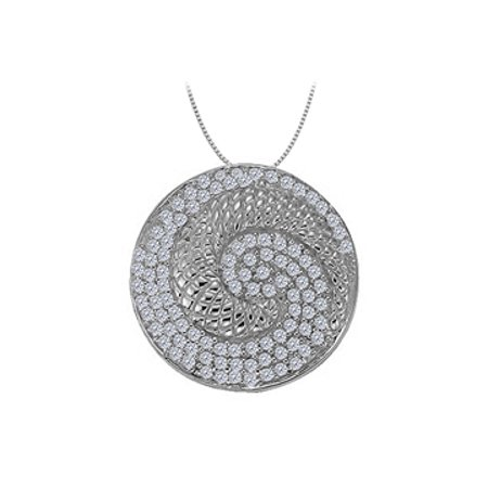 Diamond Circle Fancy Fashion Pendant in 14K White Gold 0.50 CT TDW with 14K White Gold Chain - image 1 of 2