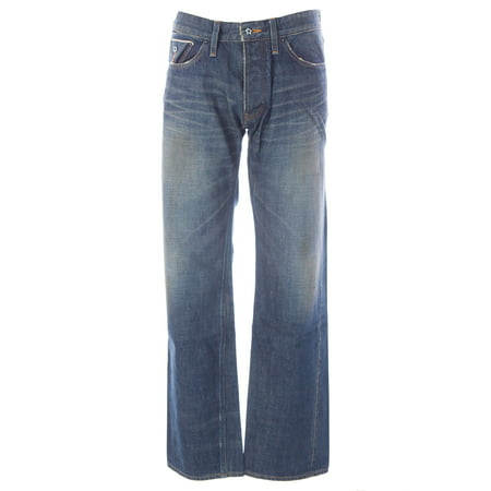 Worn Jeans Button Fly Jeans - Blue Blood Men's Form Denim Button Fly Jeans