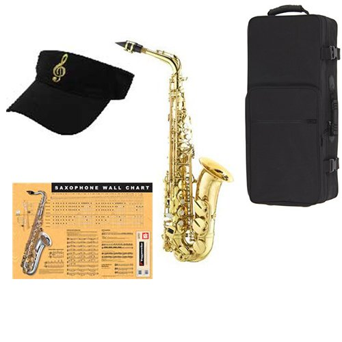 Alto Sax Pack Includes Alto Sax w Case & Accessories & Sax Wall Chart by Band Directors Choice