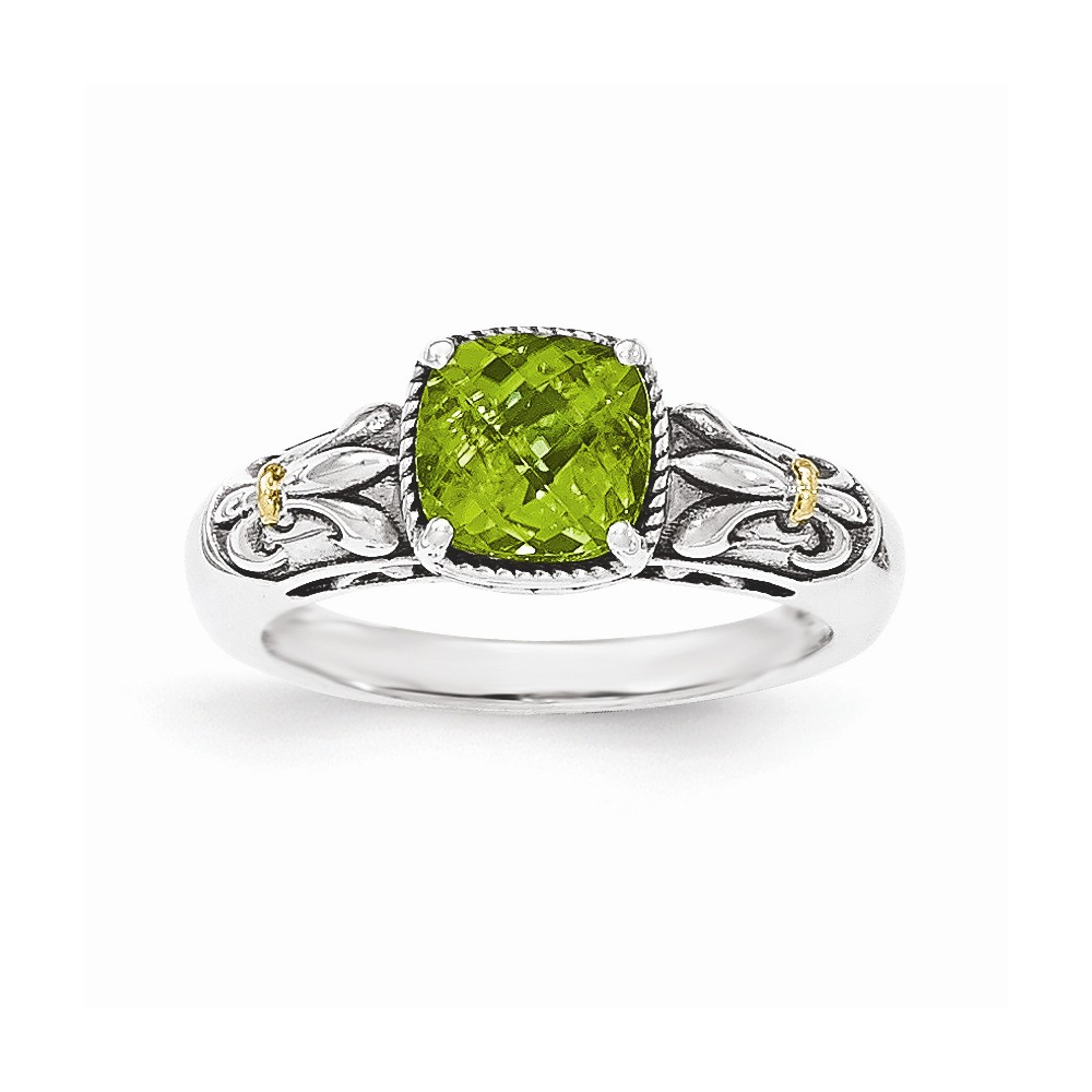 14K Gold and Sterling Silver with Peridot Ring Size-6 by