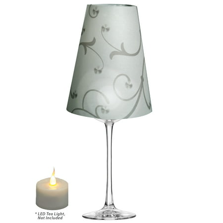 Royal Designs Flower Silhouette Vellum Paper Wine Glass Tea Light Lampshade- Party Centerpiece - Set of 20 - - Wine Glass Centerpieces