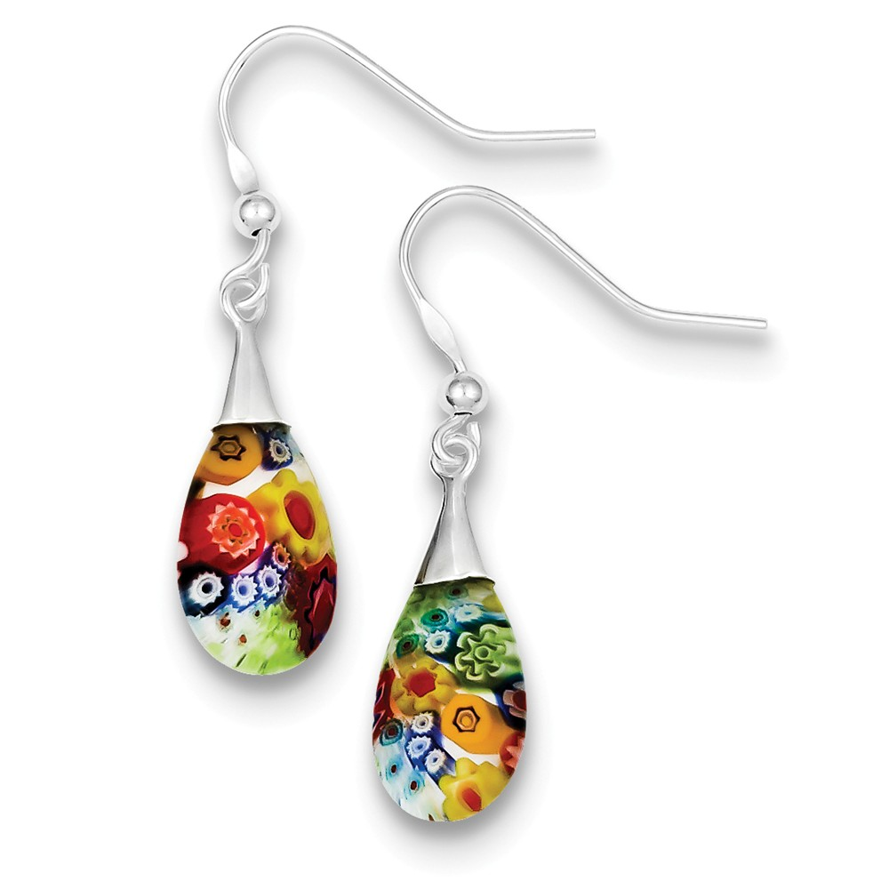 Sterling Silver Multicolored Glass Polished Teardrop Dangle Earrings (1.2IN x 0.3IN )