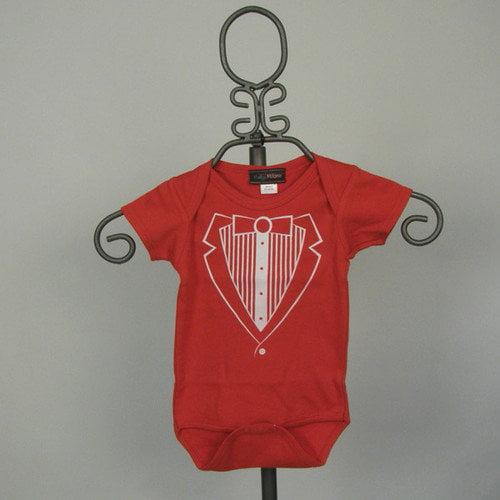 Baby Milano Red Tuxedo Vest Infant Bodysuit - Short Sleeve