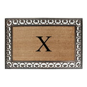 """A1HC First Impression Natural Brown Rubber And Coir Classic Paisley Border Extra-large Double door Monogrammed Doormat - 30"""" x 48"""""""