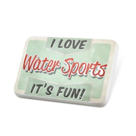 Porcelein Pin I Love Water Sports, Vintage design Lapel Badge – NEONBLOND