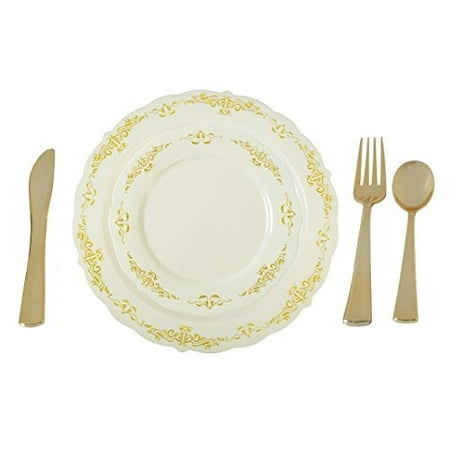 Plastic Serving Plates (Plastic China Plate Silverware Combo Serving for 20 (115 piece set)IVORY /)