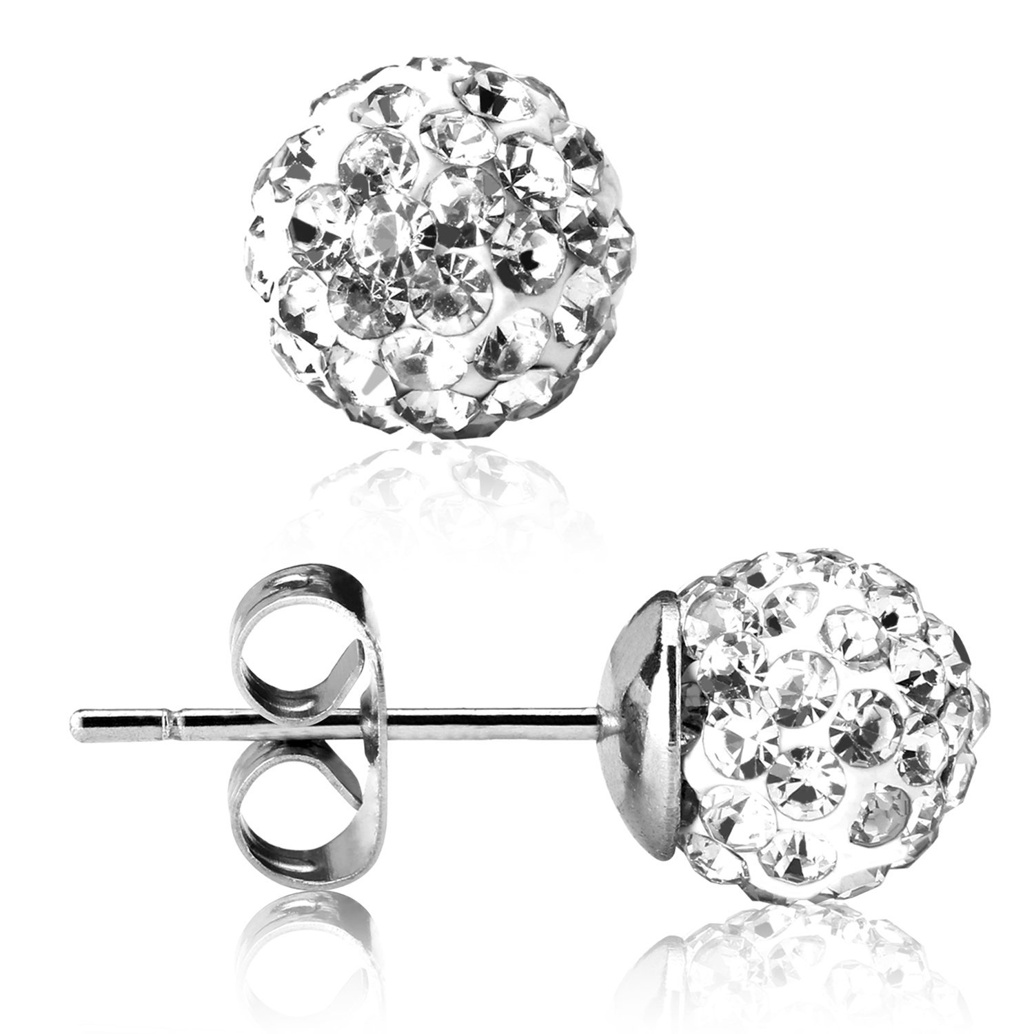 UHIBROS 316L Surgical Stainless Steel Stud earrings Round Ball Diamond Ear Stub