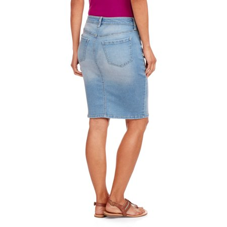 Women's Broadway Button Front Denim Skirt