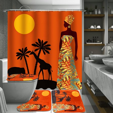 70.8 x 70.8 inches Large Exotic Customs Waterproof Fabric Shower Curtain With 12 Hooks OR 3 Pcs Toilet Cover Mats Non-Slip Rugs Bathroom Set ()