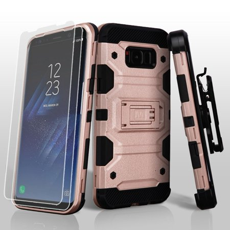 MyBat 3-in-1 Storm Tank Hybrid Holster Combo Case For Samsung Galaxy S8 - Rose Gold/Black (with 360 Degree Rotary Belt Clip & Kickstand & 2 pcs -
