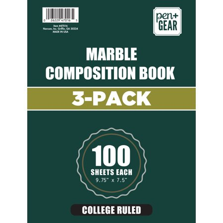Marble Executive Pen - 3 Pack Pen+Gear Marble College Ruled Composition Book, 9.75