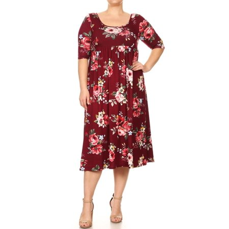 Women\'s Trendy Style Plus Size Print Baby Doll Dress