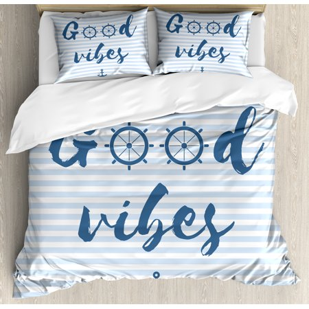 Good Vibes Duvet Cover Set, Nautical Design with Stripes Brushstrokes Steering Wheels Anchor Icon, Decorative Bedding Set with Pillow Shams, Baby Blue Night Blue, by