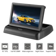 Car Rear View Camera Kit Foldable License Plate with 4.3