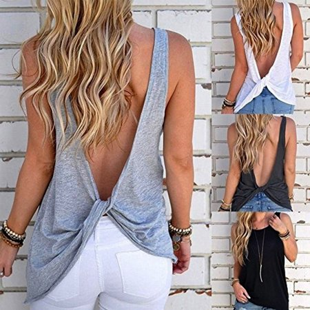 Knot Front Tank (Women Sexy Sleeveless Open Back Shirt Knotted Tank Top Blouse Sport Vest Tops Tshirt )