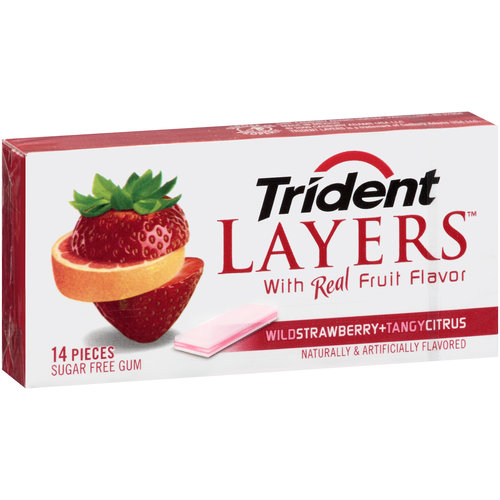 Trident Layers Wild Strawberry + Tangy Citrus Sugar Free Gum, 14 pc
