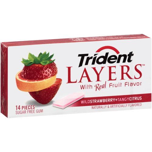 Trident Layers Wild Strawberry + Tangy Citrus Sugar Free Gum, 14 pc