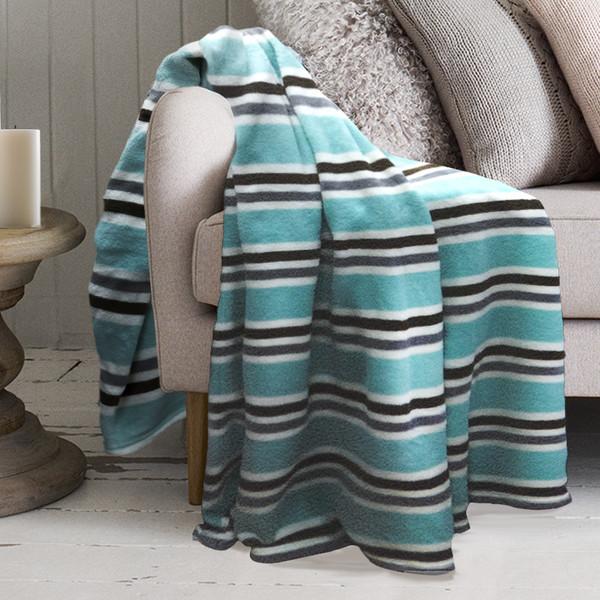 Lauren Micro Plush Blanket 50 x 60 Aqua Stripe